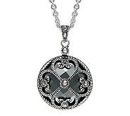 Suspicion Sterling Marcasite & Hematite Round Pendant & Chain - J311534