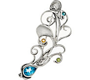 Hagit Sterling Silver Multi-Gemstone Peacock Feather Pin - J349734