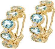 Judith Ripka Sterling & 14K Clad Gemstone & Diamonique Hoop Earrings - J350034