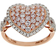 Natural Pink & White Diamond Heart Ring, 14K 1-1/4 cttw, by Affinity - J352034