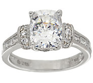 Diamonique 100-Facet Bridal Ring, Platinum Clad - J355034