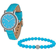 Ecclissi Gemstone Leather Watch w/ Stretch Bracelet - J356234