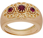 Italian Gold Three Stone Garnet Ring, 14K Gold - J357434