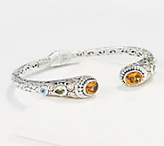 Artisan Crafted Sterling & 18K Gold Multi-Gemstone Cuff - J361234
