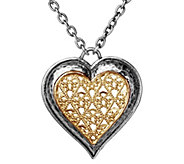 Or Paz Sterling Two-Tone 17 Filigree Heart Necklace - J383334