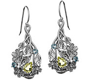 Or Paz Sterling Silver Gemstone Floral Earrings - J383534