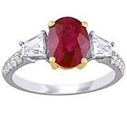 14K Ruby, White Sapphire, & Diamond 3-Stone Ring - J392234
