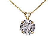 Diamonique 2.00 ct Round Solitaire Pendant w/Chain, 14K Gold - J105335