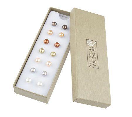 Honora Cultured Freshwaterpearl Set Of 7 Pair 7mm Sterling Stud Earrings Page 1 Qvc