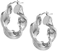 Arte dOro 1-1/4 Satin & Polished Twist Hoop Earrings, 18K - J337035