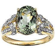 3.00cttw Green Apatite & Diamond Accent Ring, 14K Gold - J338535
