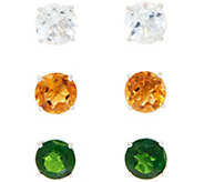 Set of 3 Gemstone Stud Earrings, Sterling - J358535