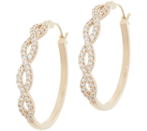 """As Is Diamonique 1"""" Infinity Design Hoop Earrings"""