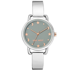 Nine West Women's Silvertone Star & Moon
