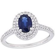 14K Gold 1.00 cttw Sapphire & 3/10 cttw DiamondHalo Ring - J385335