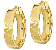 Italian Gold 1 Diamond-Cut, Zigzag Hoop Earrings, 14K - J385635