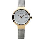 Bering Womens Two-Tone Solar Mesh Bracelet Watch - J387935