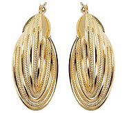 Arte dOro Polished & Textured Oval Multi-Hoo p Earrings 18K - J388535