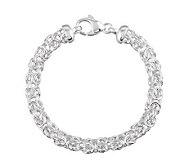 UltraFine Silver 8 Polished Byzantine Bracelet, 13.1g - J111636