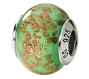 Prerogatives Sterling Green/Gold Italian MuranoGlass Bead - J111736