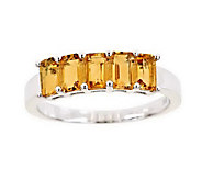 Sterling 5-Stone Emerald-Cut Gemstone Band Ring - J310336