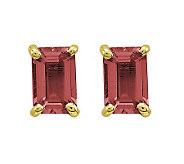 Emerald-cut Gemstone Post Earrings, 14K Gold - J311836