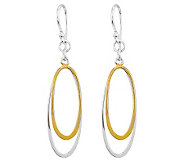 Sterling Two-Tone Polished Double Oval Dangle Earrings - J312736