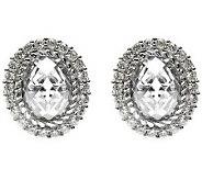 Judith Ripka Sterling Oval Diamonique Halo Earrings - J314136