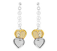 Sterling Two-tone Mesh Heart with Chain DangleEarrings - J314536