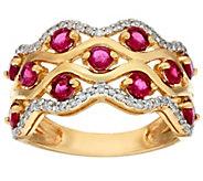 As Is Exotic Gemstone & Diamond Wave Design Band Ring, 14K - J331936