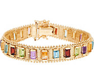 Imperial Gold 6-3/4 Multi-Gemstone Lame Bracelet, 14K, 24.20g - J349336
