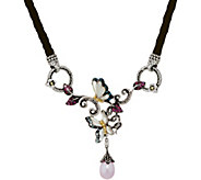 Barbara Bixby Sterling & 18K Leather & Gem Butterfly 17 Necklace - J349836