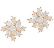 Diamonique Floral Marquise Stud Earrings, Sterling or 14K Gold Plated - J355036
