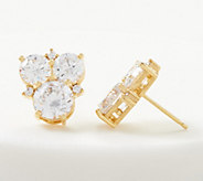 Judith Ripka 14K Gold Clad Diamonique Cluster Stud Earrings - J360636