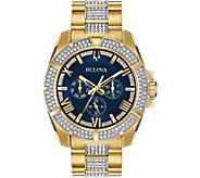 Bulova Mens Swarovski Crystal Blue Dial Watch - J378536