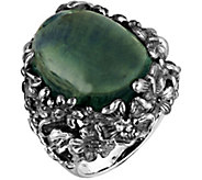 Or Paz Sterling Silver 22.50 ct Green Fluorite Floral Ring - J379336