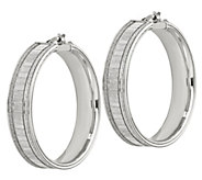 Italian Silver 1-1/2 Glimmer Round Hoop Earrings - J382936