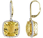 14K 21.00 cttw Citrine & 9/10 cttw Diamond HaloEarrings - J392236