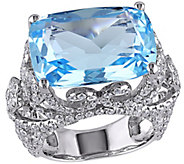 14K 18.00 cttw Topaz and 2.30 cttw Diamond Cocktail Ring - J392336