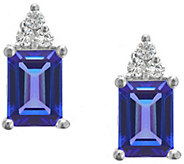 Premier Emerald-Cut Tanzanite & Diamond Earrings, 14K - J338137
