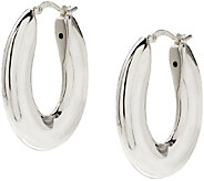 UltraFine Silver 1-1/4 Oval-Shaped Polished Hoop Earrings - J340037