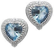 Judith Ripka Sterling, Topaz & Diamonique HeartEarrings - J341737