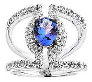 Sterling 3.00 cttw Tanzanite & White Zircon Ring - J344237