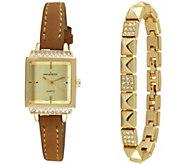 Peugeot Womens Goldtone Square Watch & Bracelet Gift Set - J344637