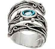 Or Paz Sterling Silver Coil Design with Gemstone Bypass Ring - J349537