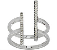 Pave White Diamond Bar Design Ring Sterling Silver by Affinity - J350337