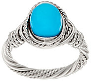 As Is Sleeping Beauty Turquoise Wrapped Sterling Ring - J350537