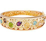 Arte d Oro Average Multi-gemstone Oval Bangle 18k Gold, 27.6g - J350637