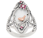 Carolyn Pollack Sterling Silver Mother of Pearl & Garnet Bird Ring - J352237