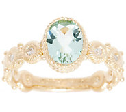 Judith Ripka 14K Gold Green Beryl & Diamond Ring - J355337